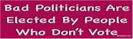 Bad Politicians Are Elected By People Who Dont Vote - Liberal Progressive Laptop/Window/Bumper Sticker