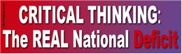 CRITICAL THINKING: The REAL National Deficit Liberal Progressive Laptop/Window/Bumper Sticker