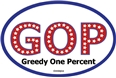 GOP - Greedy One Percent Liberal Progressive Laptop/Window/Bumper Sticker