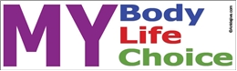 MY Body, MY Life, MY Choice Liberal Progressive Laptop/Window/Bumper Sticker