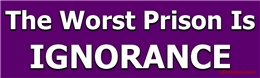 The Worst Prison is Ignorance - Liberal Progressive Laptop/Window/Bumper Sticker