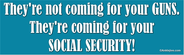 They're not coming for your GUNS. They're coming for your SOCIAL SECURITY! - Laptop/Window/Bumper Sticker